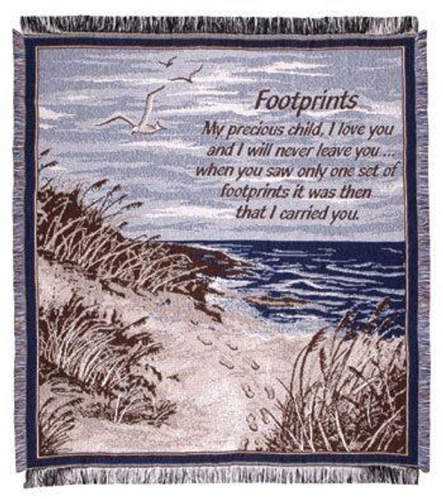 """48"""" x 60"""" """"Footprints in the Sand"""" Quote Afghan Throw Blanket - IMAGE 1"""