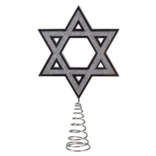 "9.5"" Silver Star of David Hanukkah Holiday Tree Topper - IMAGE 1"