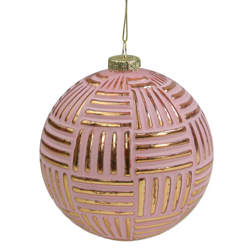 "Pink and Gold Striped Matte Glass Christmas Ball Ornament 4"" (100mm) - IMAGE 1"