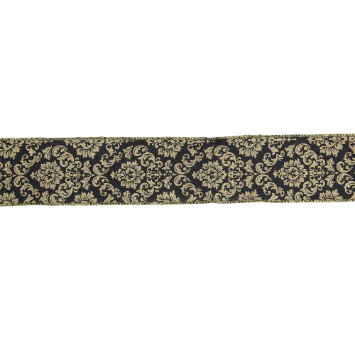 "Black and Gold Damask Christmas Wired Craft Ribbon 2.5"" x 16 Yards - IMAGE 1"
