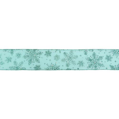 "Sparkly Aqua Blue Snowflake Christmas Wired Craft Ribbon 2.5"" x 16 Yards - IMAGE 1"