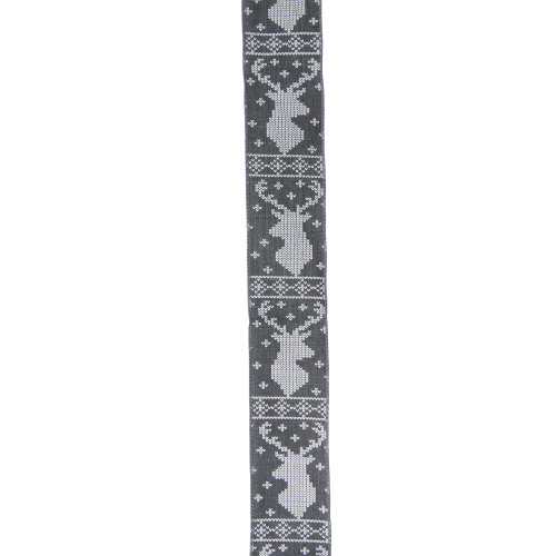 """Gray and White Nordic Reindeer Christmas Wired Craft Ribbon 2.5"""" x 16 Yards - IMAGE 1"""