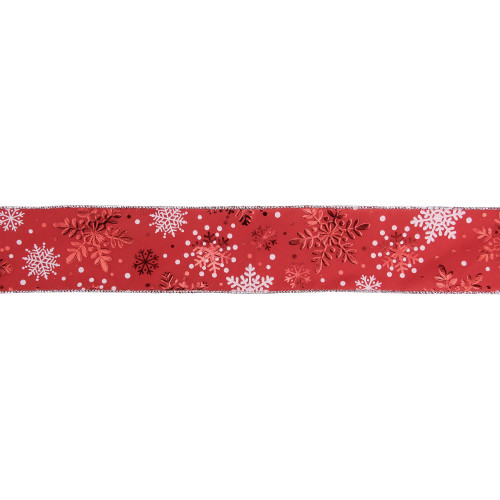 """Metallic Red and White Snowflakes Wired Christmas Craft Ribbon 2.5"""" x 16 Yards - IMAGE 1"""