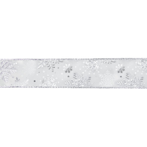 """White and Silver Snowflake Christmas Wired Craft Ribbon 2.5"""" x 16 Yards - IMAGE 1"""