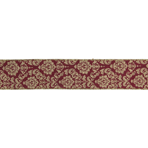 "Burgundy Red and Gold Damask Christmas Wired Craft Ribbon 2.5"" x 16 Yards - IMAGE 1"