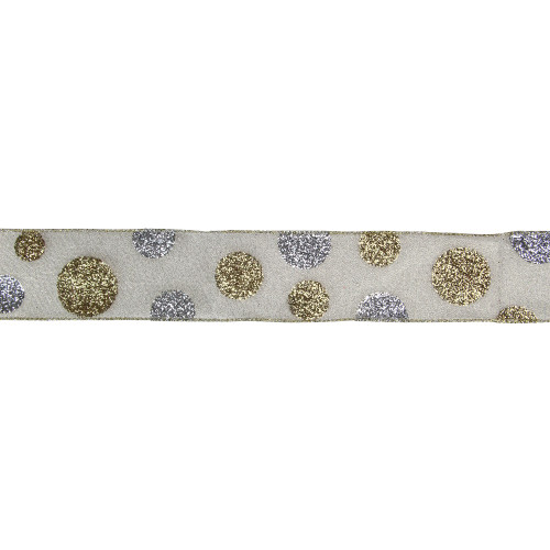 "Glitter Gold and Silver Polka Dotted Christmas Wired Ribbon 2.5"" x 16 Yards - IMAGE 1"