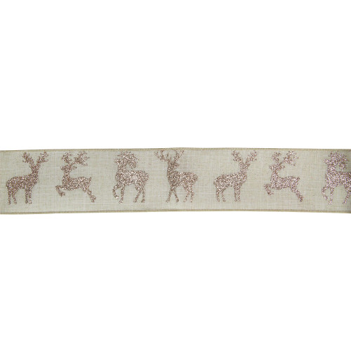 """Beige and Gold Glitter Deer Wired Craft Ribbon 2.5"""" x 16 Yards - IMAGE 1"""