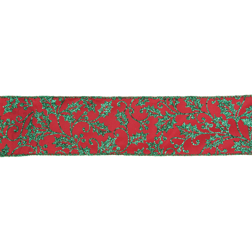 """Sparkly Red and Green Holly Christmas Wired Craft Ribbon 2.5"""" x 16 Yards - IMAGE 1"""