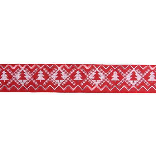 """Red and White Nordic Tree Christmas Wired Craft Ribbon 2.5"""" x 16 Yards - IMAGE 1"""