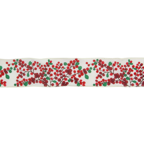 """Red Berries on Branches Christmas Wired Craft Ribbon 2.5"""" x 16 Yards - IMAGE 1"""