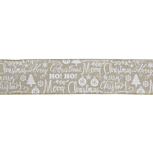 """Beige and White Merry Christmas Burlap Wired  Ribbon 2.5"""" x 16 Yards - IMAGE 1"""