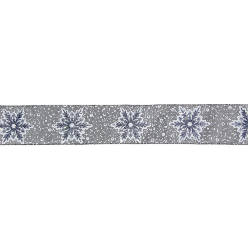 """Gray and White Glitter Snowflake Christmas Wired Craft Ribbon 2.5"""" x 16 Yards - IMAGE 1"""
