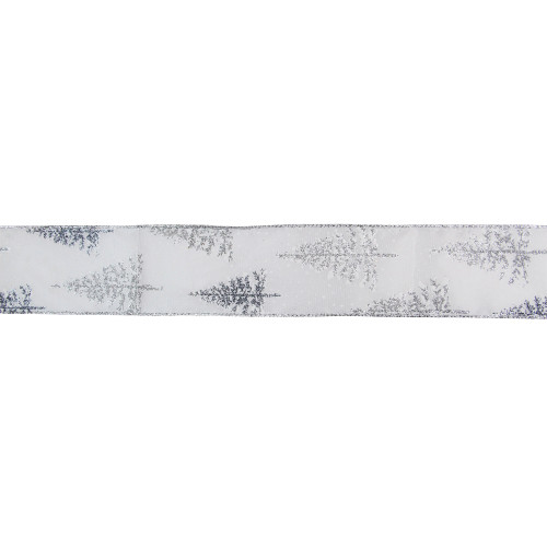 """White and Shimmering Silver Christmas Tree Wired Craft Ribbon 2.5"""" x 16 Yards - IMAGE 1"""