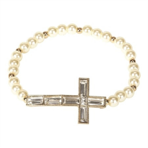 Pearl White and Gold Crystal Cross Beaded Stretch Bracelet - IMAGE 1