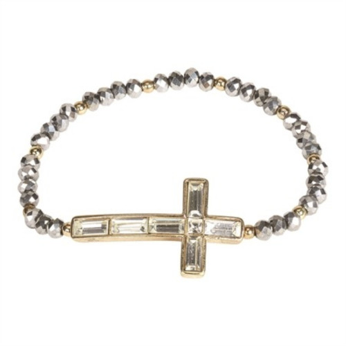 Gray and Gold Crystal Cross Beaded Stretch Bracelet - IMAGE 1
