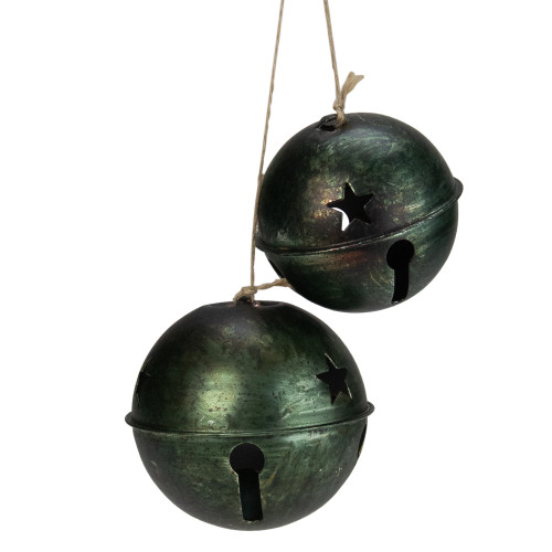 """2ct Green and Brown Jingle Bell Drop Christmas Ornaments 13.25"""" - IMAGE 1"""