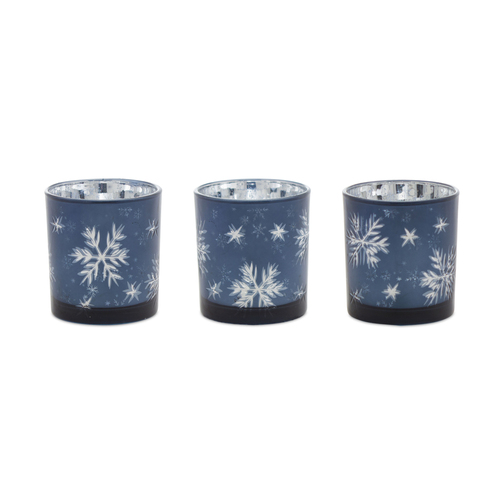 """Set of 3 Blue and Silver Snowflake Christmas Votive Candle Holders 3"""" - IMAGE 1"""