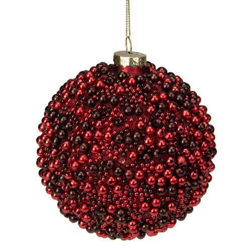 """2-Finish Red and Black Beaded Glass Christmas Ball Ornament 4.75"""" (120mm) - IMAGE 1"""