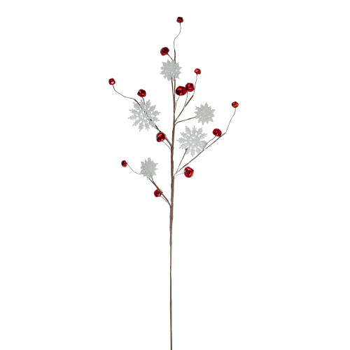 """30"""" White and Red Snowflake with Sleigh Bell Christmas Spray - IMAGE 1"""