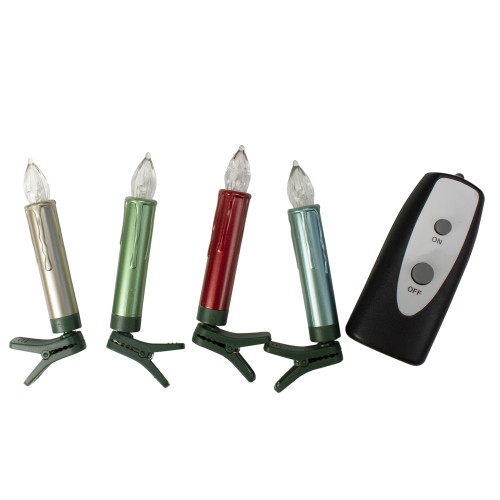 "Set of 12 LED Clip on Colored Taper Candles with Remote 4"" - IMAGE 1"