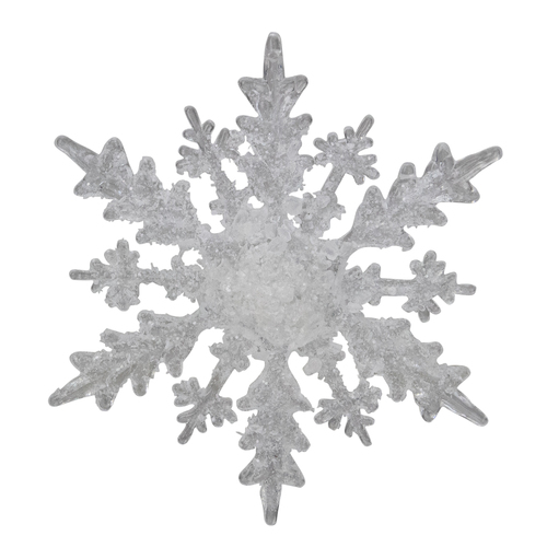 """4.25"""" Clear and White Frosted Hanging Christmas Snowflake - IMAGE 1"""