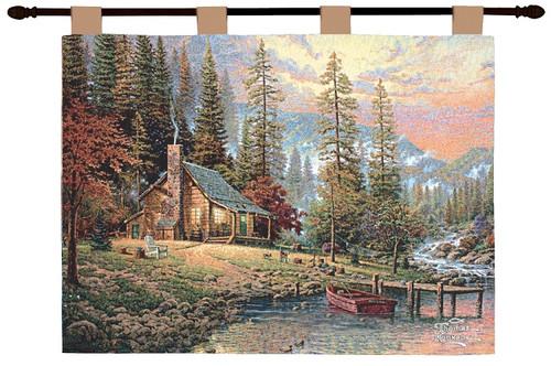 "Thomas Kinkade Peace Retreat Pictorial Cotton Wall Art Hanging Tapestry 26"" x 36"" - IMAGE 1"