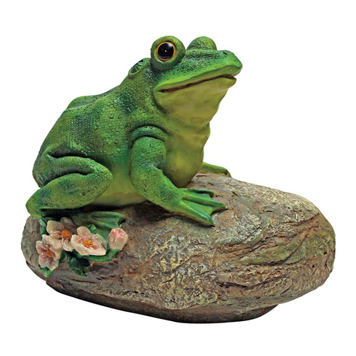 "8.5"" Sitting Toad Hand Painted Outdoor Garden Statue - IMAGE 1"