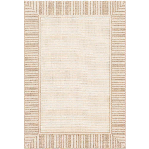 """2'3"""" x 7'9"""" Alfresco Beige and Brown Striped Borderline Pattern Synthetic Area Rug - IMAGE 1"""