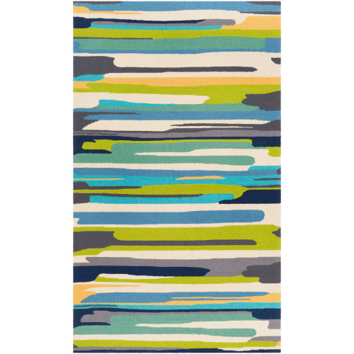5' x 8' Contemporary Blue and Green Rectangular Area Throw Rug - IMAGE 1