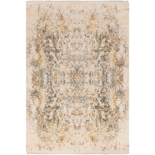 9' x 13' Distressed Finish Beige and Gray Rectangular Area Throw Rug - IMAGE 1