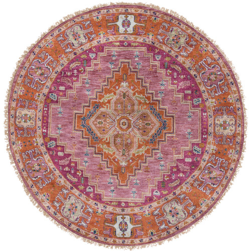 10' Traditional Style Purple and Taupe New Zealand Wool Round Area Throw Rug - IMAGE 1
