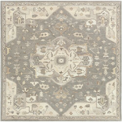6' Floral Patterned Gray and Brown Hand Tufted Wool Square Area Rug - IMAGE 1