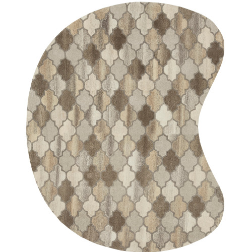 6' x 9' Trellis Pattern Gray and Brown Kidney Hand Tufted Wool Area Throw Rug - IMAGE 1