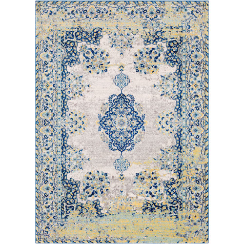 """9'3"""" x 12'6"""" Distressed Persian Floral Design Blue and Ivory Rectangular Machine Woven Area Rug - IMAGE 1"""