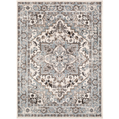 """6'7"""" x 9' Floral Persian Design Gray and Biege Rectangular Machine Woven Area Rug - IMAGE 1"""