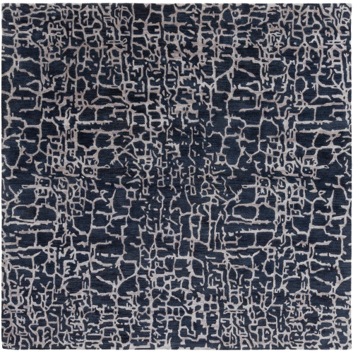 10' x 10' Contemporary Style Navy Blue and Brown Square Area Throw Rug - IMAGE 1