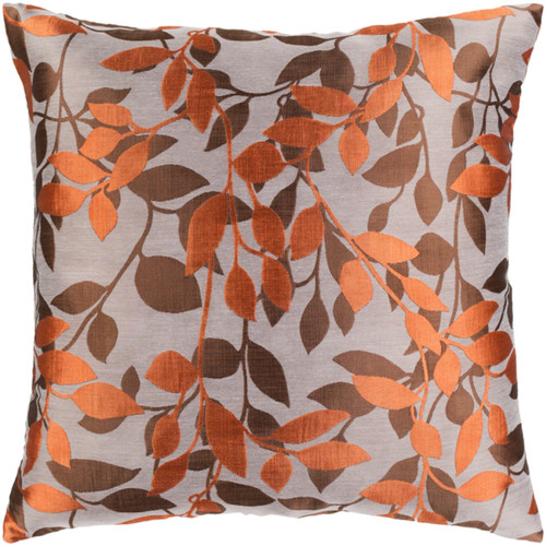 """22"""" Orange and Brown Leaves Embroidered Throw Pillow Cover - IMAGE 1"""