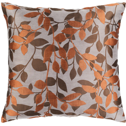 """22"""" Orange and Brown Leaves Pattern Woven Square Throw Pillow Cover with Knife Edge - Down Filler - IMAGE 1"""