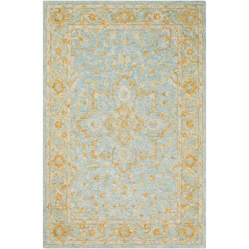 9' x 12' Floral Design Beige and Blue Rectangular Area Throw Rug - IMAGE 1
