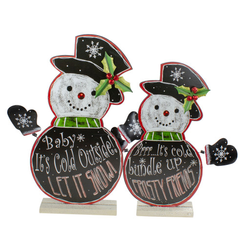 """Set of 2 Black and White Standing Snowmen Christmas Tabletop Figurines 18.5"""" - IMAGE 1"""
