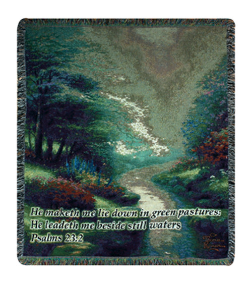 "Sage Green and Rust Brown Bible Verse Tapestry Throw Blanket 50"" x 60"" - IMAGE 1"