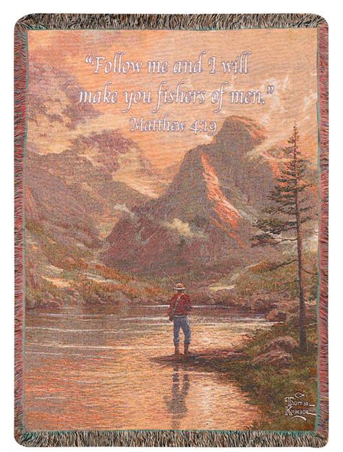 """Fisherman Biblical Verse Thomas Kinkade Throw Blanket 50"""" x 60"""" - IMAGE 1"""