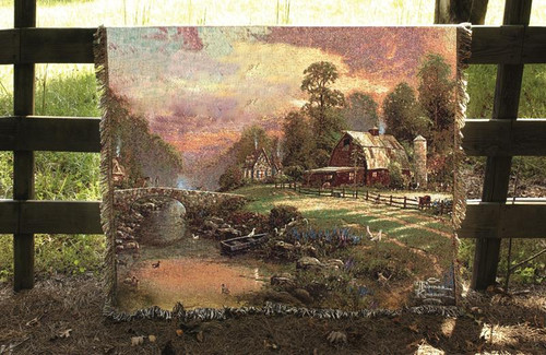 """Rust Brown and Green Sunset at Riverbend Farm Tapestry Throw Blanket 50"""" x 60"""" - IMAGE 1"""