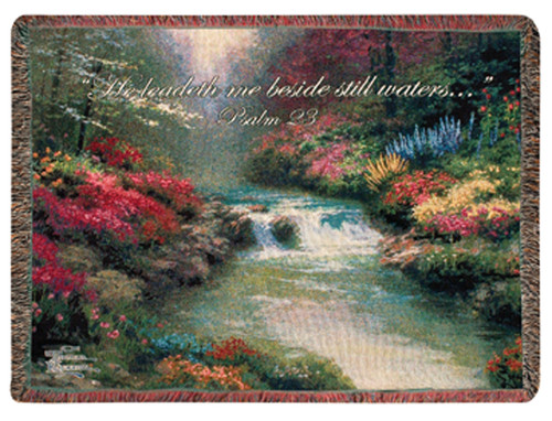 "Religious Beside Still Waters Biblical Psalm 23 Tapestry Throw Blanket 60"" x 50"" - IMAGE 1"