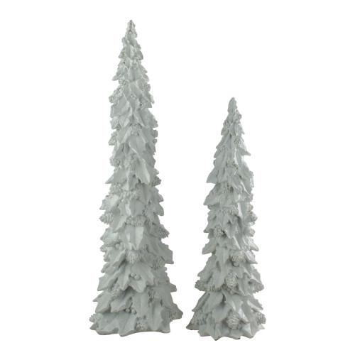 """Set of 2 White Holly and Cone Tree Christmas Tabletop Figure 20.5"""" - IMAGE 1"""