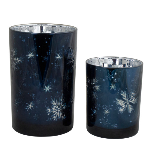 """Set of 2 Blue and Silver Snowflakes Printed Christmas Candle Holders 7"""" - IMAGE 1"""