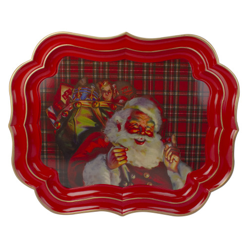 """19.75"""" Red and White Plaid Santa Claus with Gifts Christmas Serving Tray - IMAGE 1"""
