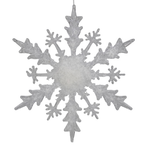 "12"" White Glittered Large Snowflake Christmas Ornament - IMAGE 1"