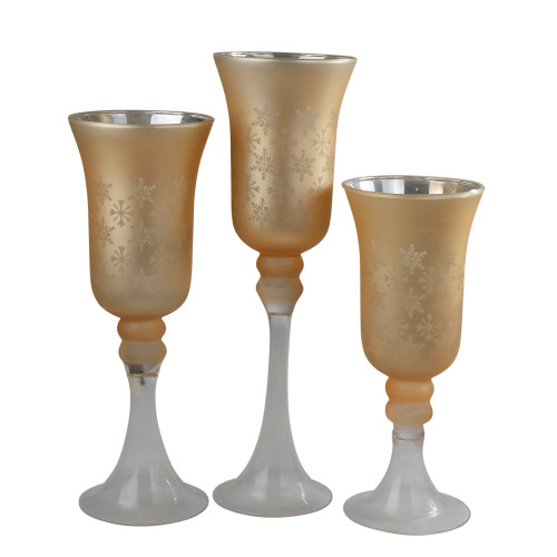 """Set of 3 Gold and Clear Snowflake Christmas Candle Holder 15"""" - IMAGE 1"""