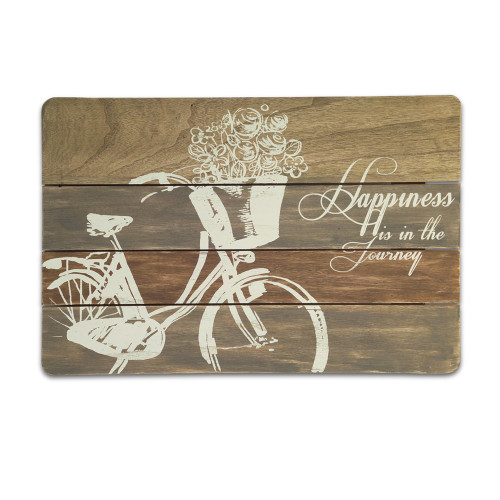 """23.5"""" Brown and White Happiness Bicycle Wall Plaque - IMAGE 1"""